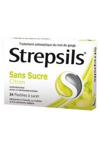 STREPSIL SANS SUCRE citron 24 pastilles